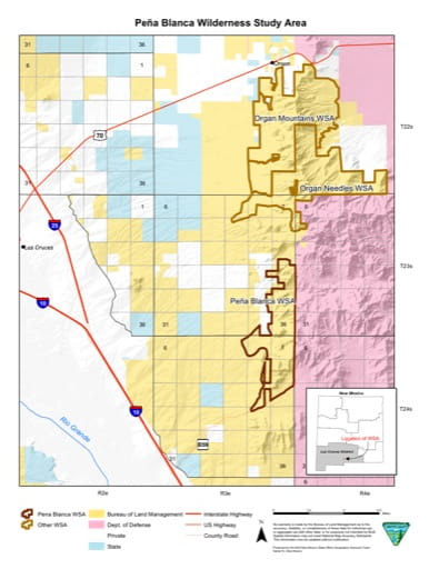 Visitor Map of Peña Blanca Wilderness Study Area (WSA) in New Mexico. Published by the Bureau of Land Management (BLM).