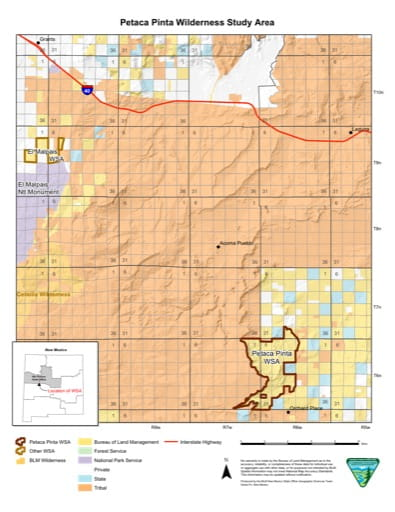 Visitor Map of Petaca Pinta Wilderness Study Area (WSA) in New Mexico. Published by the Bureau of Land Management (BLM).