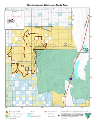 Visitor Map of Sierra Ladrones Wilderness Study Area (WSA) in New Mexico. Published by the Bureau of Land Management (BLM).