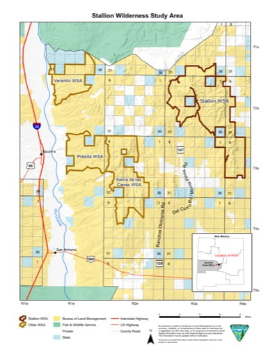 Visitor Map of Stallion Wilderness Study Area (WSA) in New Mexico. Published by the Bureau of Land Management (BLM).