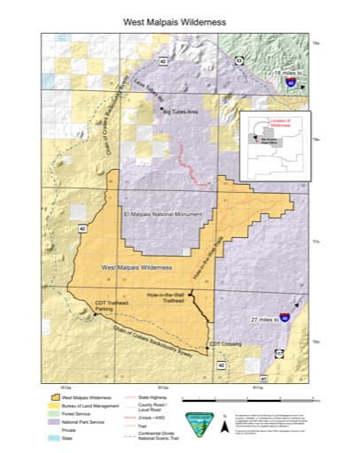 Map of West Malpais Wilderness in New Mexico. Published by the Bureau of Land Management (BLM).