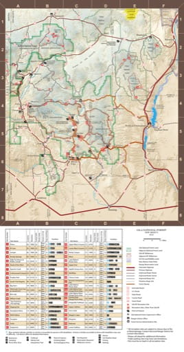 Pocket Guide Map of Gila National Forest (NF) in New Mexico. Published by the U.S. Forest Service (USFS).