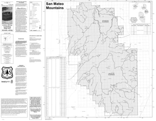 Motor Vehicle Use Map (MVUM) of the San Mateo Mountains in the Magdalena Ranger District (RD) of Cibola National Forest (NF) in New Mexico. Published by the U.S. Forest Service (USFS).