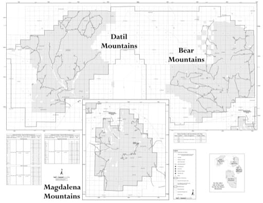 Motor Vehicle Use Map (MVUM) of the Magdalena Mountains in the Magdalena Ranger District (RD) of Cibola National Forest (NF) in New Mexico. Published by the U.S. Forest Service (USFS).