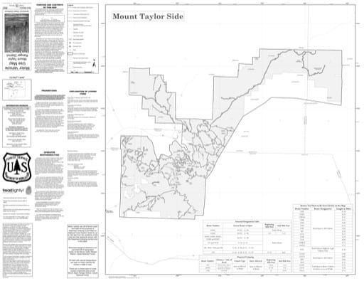 Motor Vehicle Use Map (MVUM) of the Mount Taylor Side of the Mount Taylor Ranger District (RD) of Cibola National Forest (NF) in New Mexico. Published by the U.S. Forest Service (USFS).