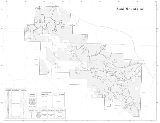 Motor Vehicle Use Map (MVUM) of the Zuni Mountains in the Mount Taylor Ranger District (RD) of Cibola National Forest (NF) in New Mexico. Published by the U.S. Forest Service (USFS).
