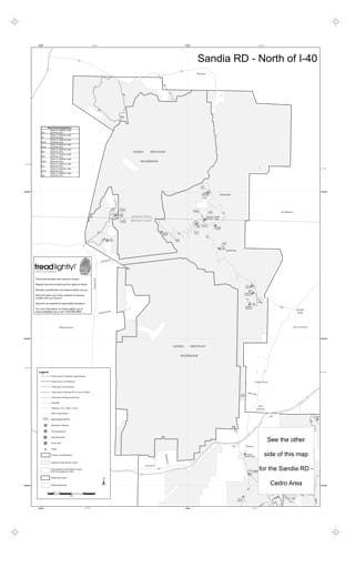 Motor Vehicle Use Map (MVUM) of area North of I-40 of Sandia Ranger District (RD) of Cibola National Forest (NF) in New Mexico. Published by the U.S. Forest Service (USFS).