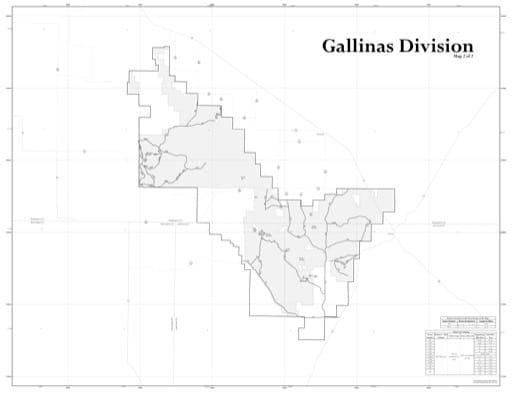 map of Cibola MVUM - Mountainair - Gallinas 2015