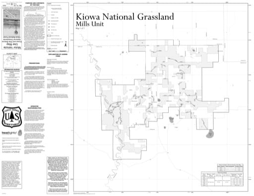 Motor Vehicle Use Map (MVUM) of the Mills Unit of Kiowa National Grassland (NG) in New Mexico. Published by the U.S. Forest Service (USFS).