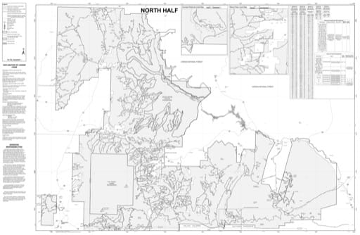 Motor Vehicle Use Map (MVUM) of the Northwestern area of Santa Fe National Forest (NF) in New Mexico. Published by the U.S. Forest Service (USFS).