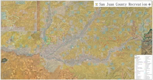 Recreation Map of San Juan County in New Mexcio. Published by San Juan County.