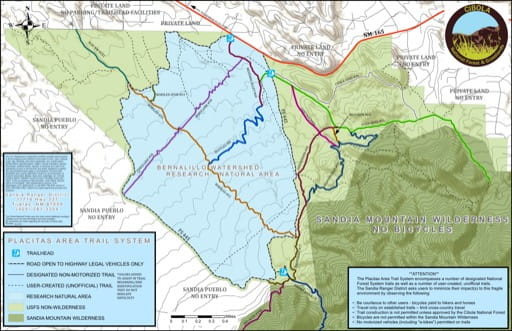 map of Cibola - Placitas Area Trail Map