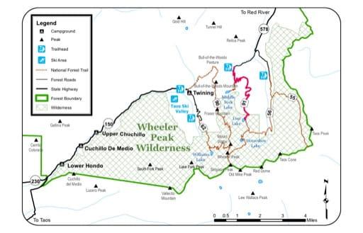 map of Wheeler Peak - Wilderness Map