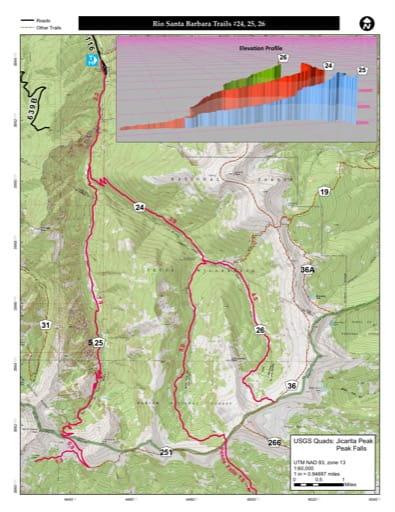 map of Carson - Rio Santa Barbara Trails #24, 25, 26