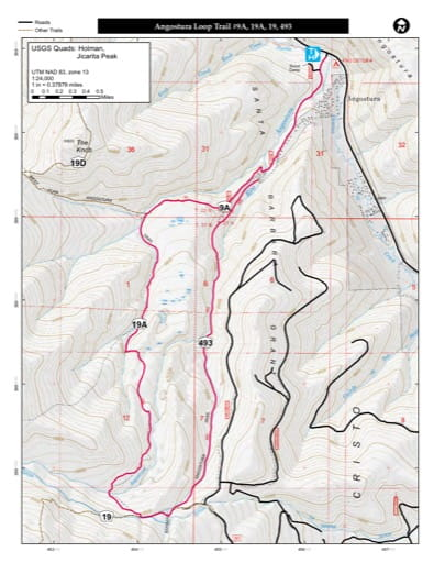 map of Carson - Angostura Loop Trail #9A, 19A, 19, 493