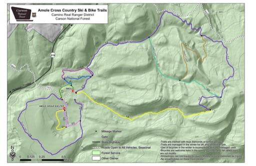 map of Carson - Amole Cross Country Ski & Bike Trails