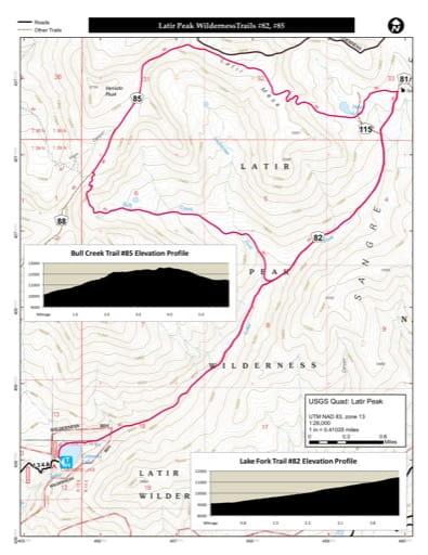 map of Carson - Latir Peak Wilderness Trails #82, #85