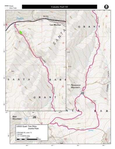 map of Carson - Comales Trail #22