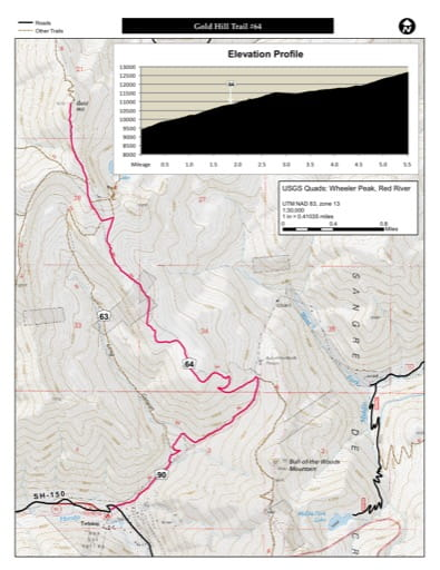map of Carson - Gold Hill Trail #64