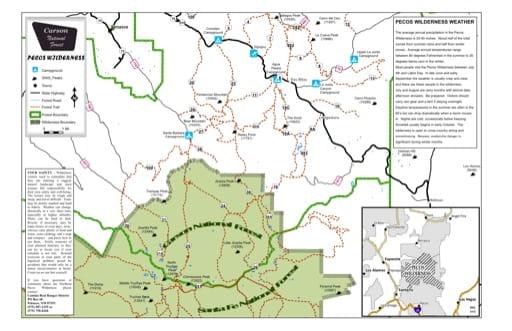 map of Carson - Pecos Wilderness