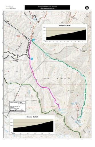 map of Carson - Trampas/Hidden Lake Trail #31, San Leonardo Trail #30