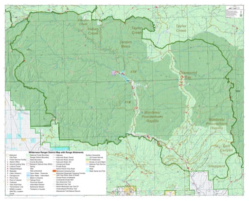 Grazing Management Map with Range Allotments of Wilderness Ranger District in Gila National Forest (NF) in New Mexico. Published by the U.S. Forest Service (USFS).