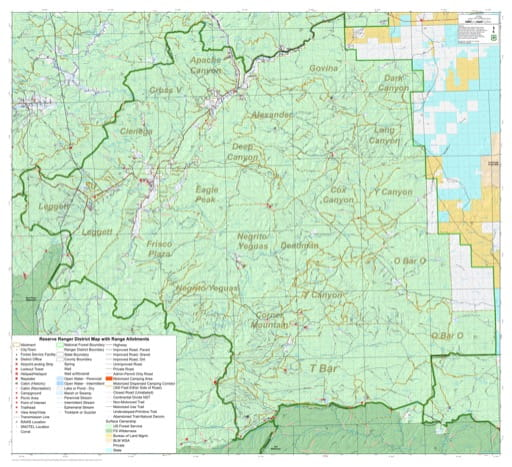 Grazing Management Map with Range Allotments of Reserve Ranger District in Gila National Forest (NF) in New Mexico. Published by the U.S. Forest Service (USFS).