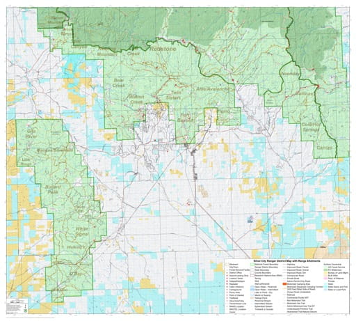 Grazing Management Map with Range Allotments of Silver City Ranger District in Gila National Forest (NF) in New Mexico. Published by the U.S. Forest Service (USFS).