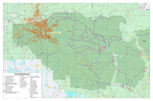 Map of Recently Maintained & Cleared Trails in the Gila Wilderness Area in New Mexico. Published by the U.S. Forest Service (USFS).