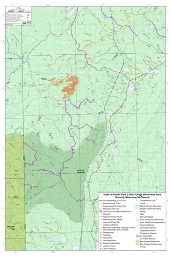 map of Pueblo Park and Blue Range - Trails Map