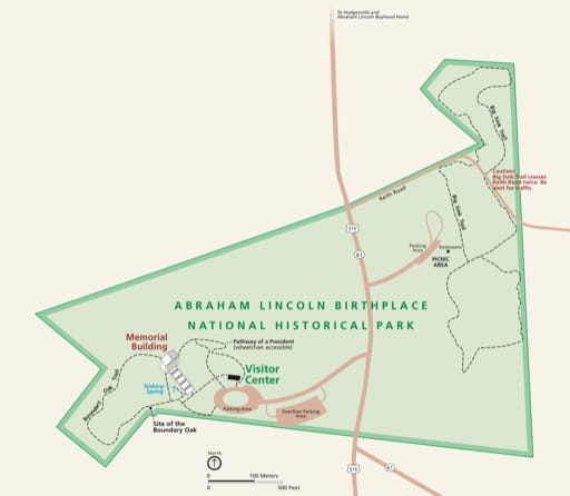 Official Visitor Map of Abraham Lincoln Birthplace National Historical Park (NHP) in Kentucky. Published by the National Park Service (NPS).