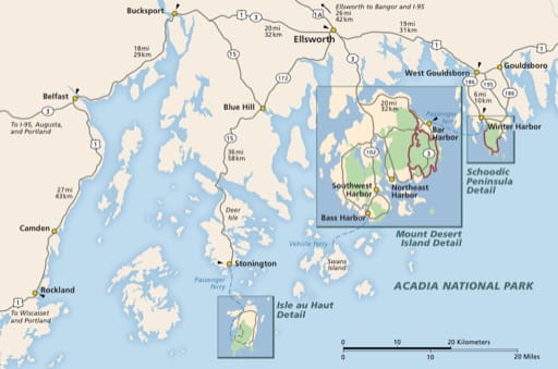 Official visitor map of Acadia National Park (NP) in Maine. Published by the National Park Service (NPS).
