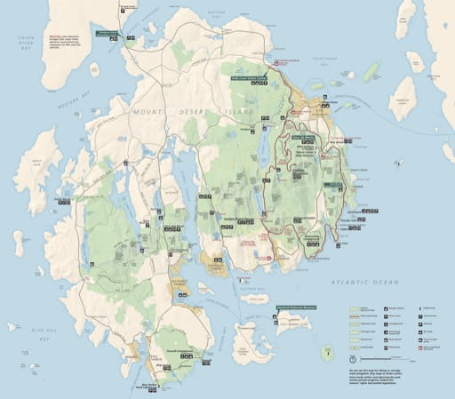 Official Visitor Map of Mount Desert Island in Acadia National Park (NP) in Maine. Published by the National Park Service (NPS).