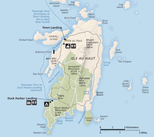 Official visitor map of Isle Au Haut in Acadia National Park (NP) in Maine. Published by the National Park Service (NPS).
