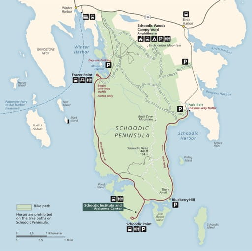 Official visitor map of the Schoodic Peninsula in Acadia National Park (NP) in Maine. Published by the National Park Service (NPS).