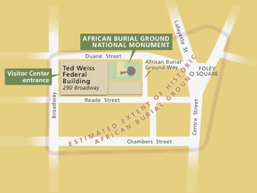 Official Visitor Map of African Burial Ground National Monument (NM) in New York. Published by the National Park Service (NPS).