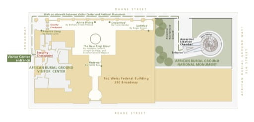 Detail of the Official Visitor Map of African Burial Ground National Monument (NM) in New York. Published by the National Park Service (NPS).