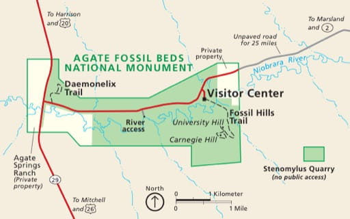 Official Visitor Map of Agate Fossil Beds National Monument (NM) in Nebraska. Published by the National Park Service (NPS).