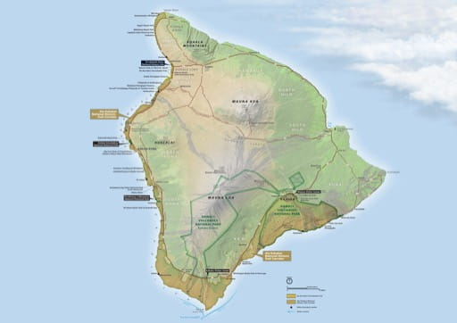 Official visitor map of Ala Kahakai National Historic Trail (NHT) in Hawaiʻi. Published by the National Park Service (NPS).