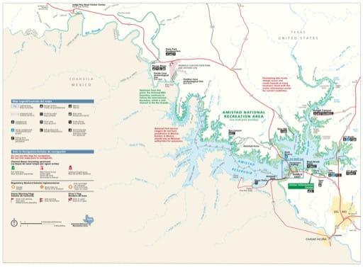 Official visitor map of Amistad National Recreation Area (NRA) in Texas. Published by the National Park Service (NPS).