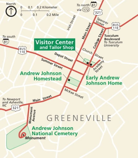 Official visitor map of Andrew Johnson National Historic Site (NHS) in Tennessee. Published by the National Park Service (NPS).