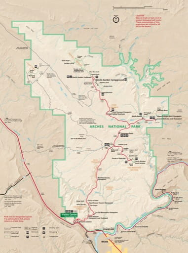 Official visitor map of Arches National Park (NP) in Utah. Published by the National Park Service (NPS).