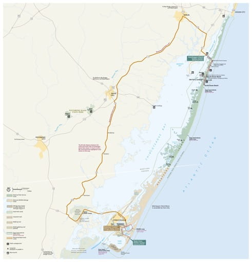 Official visitor map of Assateague Island National Seashore (NS) in Maryland and Virginia. Published by the National Park Service (NPS).