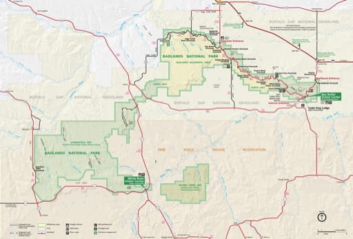 Official Visitor Map of Badlands National Park (NP) in South Dakota. Published by the National Park Service (NPS).