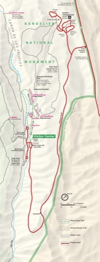 Detail of the official visitor map of Bandelier National Monument (NM) in New Mexico. Published by the National Park Service (NPS).