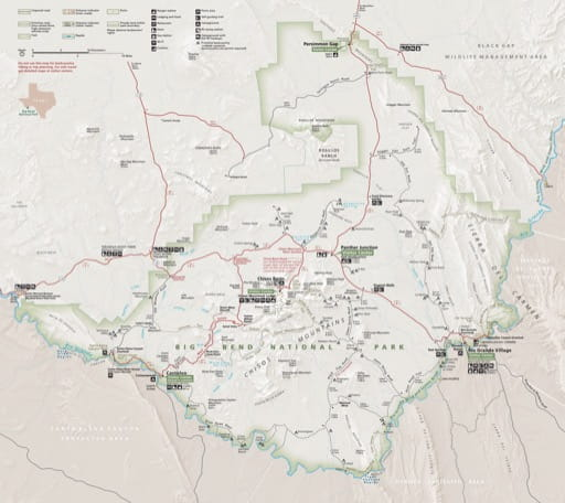 Official visitor map of Big Bend National Park (NP) in Texas. Published by the National Park Service (NPS).