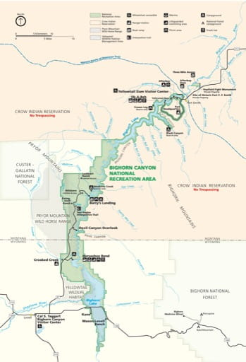 Official Visitor Map of Bighorn Canyon National Recreation Area (NRA) in Montana and Wyoming. Published by the National Park Service (NPS).