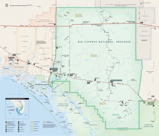 Official visitor map of Big Cypress National Preserve (NPRES) in Florida. Published by the National Park Service (NPS).