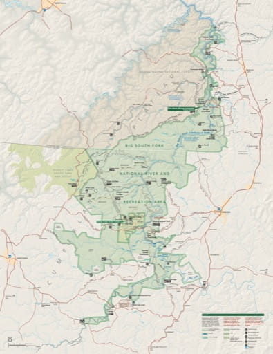 Official Visitor Map of Big South Fork National River and Recreation Area (NR & RA) in Kentucky and Tennessee. Published by the National Park Service (NPS).