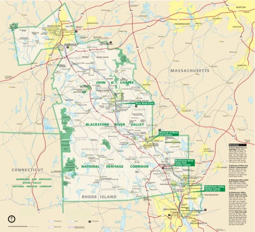 Official Visitor Map of John H. Chafee Blackstone River Valley National Heritage Corridor (NHC) in Massachusetts and Rhode Island. Published by the National Park Service (NPS).